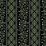 Seamless floral pattern ,cute flowers on black background, striped, Stock Photos