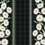 Seamless Floral Pattern ,cute Flowers On Black Background, Striped, Stock Images