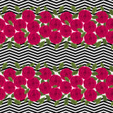 Seamless floral pattern ,cute flowers on white background, striped, Royalty Free Stock Photos