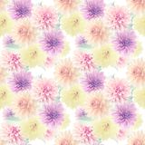 Seamless floral pattern with dahlia flowers. Endless texture for your design Stock Photo