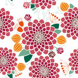Seamless Floral Pattern, Dahlias Stock Images