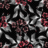 Seamless floral pattern dark background flowers ornament   Stock Images