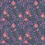 Seamless Floral Pattern on dark background. Ornate vector seamless texture Stock Photos