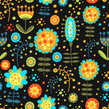 Seamless floral pattern on a dark background. For textiles, interior design, for book design, website background Royalty Free Stock Image