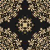 Seamless floral pattern on a dark background in the vector. Back royalty free illustration