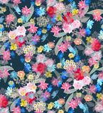 Seamless floral pattern in a dark exotic print. Realistic vintage illustration. Stylized watercolor background vector illustration