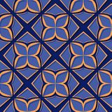 Seamless floral pattern. Deep blue and orange 3d designs. Vector illustration Stock Illustration