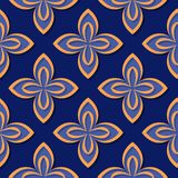 Seamless floral pattern. Deep blue and orange 3d designs. Vector illustration Vector Illustration