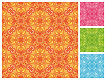 Seamless floral pattern in different color schemes Royalty Free Stock Photo