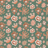 Seamless floral pattern different painted flowers. On a dark background stock illustration