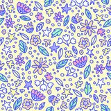 Seamless floral pattern with doodle flowers and leaves in pastel colors. Vector illustration. Trendy flowers for girly print. Hand. Seamless floral pattern with vector illustration