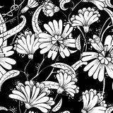 Seamless floral pattern in a doodle style Royalty Free Stock Image