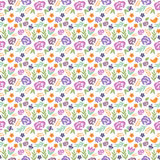 Seamless floral pattern in doodle style with flowers and leaves. Gentle, spring floral background. Stock Photos
