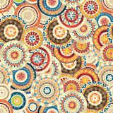 Seamless floral pattern with doodles and cucumbers Stock Photos