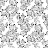 Seamless floral pattern with doodles and cucumbers Royalty Free Stock Photo