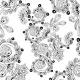 Seamless floral pattern with doodles and cucumbers Stock Photography