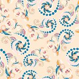 Seamless floral pattern with doodles and cucumbers Stock Image
