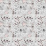 Seamless floral pattern with dragonflies. Grey and pink . Colorful background vector illustration