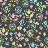 Seamless floral pattern drawn in chalk Stock Photos