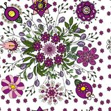 Seamless floral pattern in ethnic fantasy style in violet and green colors for decorating greeting cards, creating textures and royalty free illustration