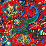 Seamless floral pattern in ethnic style Stock Images