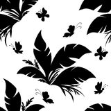 Tile Pattern, Plant and Butterfly Royalty Free Stock Photo