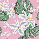 Seamless floral pattern of exotic tropical lilies and monster lives. Isolated on light pink background. Fabric texture. Wallpaper stock illustration