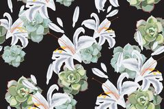 Seamless floral pattern of exotic tropical lilies and succulent isolated on the black background. Fabric texture. Wallpaper stock illustration
