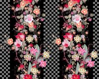 Seamless floral pattern with exotic wreath of flowers and Checkerboard fragments.  Royalty Free Stock Photography