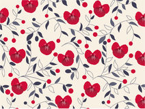 Seamless floral pattern with fabric texture. And illustration Stock Photos
