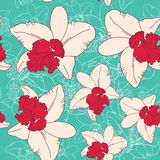 Seamless floral pattern fantasy blooming pink white orchid on  blue background. Seamless floral pattern fantasy blooming pink white orchid on blue background Royalty Free Stock Photo