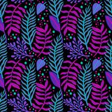 Seamless floral pattern with a fantasy design with exotic flowers and tropic leaves on a black background. The elegant the stock illustration
