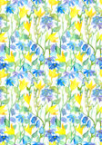 Seamless floral pattern - fantasy flowers. Watercolor Royalty Free Stock Image