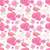 Seamless pattern with flowers and flamingo stock illustration