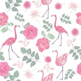 Seamless  pattern with flowers and flamingos Stock Photo