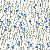 Seamless floral pattern, Flax plant, wild field flower  on white background, hand drawn sketch vector doodle. Illustration, texture for design package cosmetic Royalty Free Stock Images