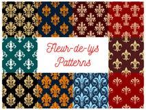 Seamless floral pattern fleur-de-lis lily flower Stock Images