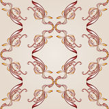 Seamless floral pattern. Seamless pattern with florid cross elements in burgundy, pink and yellow shades on pastel rose pink background Stock Images