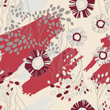 Seamless Floral Pattern With Flowers. On Monochrome Background Royalty Free Stock Images