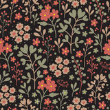 Seamless floral pattern with flowers on dark background. Vintage floral background. Vector illustration. Stock Photo