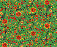 Seamless floral pattern with flowers in Hohloma style Royalty Free Stock Images