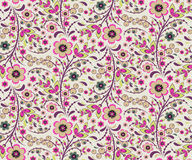 Seamless floral pattern with flowers in Hohloma style Royalty Free Stock Photos