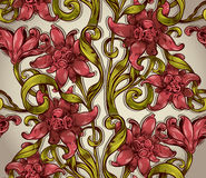 Seamless floral pattern with flowers leaves and branches. Seamless floral pattern with flowers leaves and branches, Victorian style vector repeat background Stock Photography