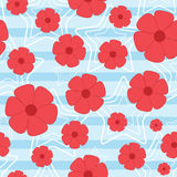 Seamless floral pattern. Flowers and outlines of stars on a striped background. Stock Photo