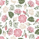 Seamless floral pattern with flowers of peonies roses bells lilies ferns. stock illustration