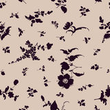 Seamless floral pattern flowers silhouette elements Stock Photo
