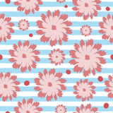 Seamless floral pattern. Flowers on a striped background. Royalty Free Stock Photos