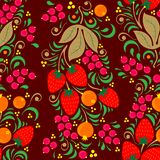 Seamless illustration with  floral pattern in folk painting style, flowers, leaves and berries on dark Burgundy background. Seamless floral pattern in folk stock illustration