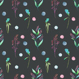 Seamless floral pattern with forest floral elements and watercolor spots Royalty Free Stock Photography