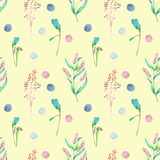 Seamless floral pattern with forest floral elements and watercolor spots Stock Images